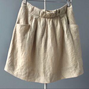 J. Crew tan linen charter pocketed mini skirt 4